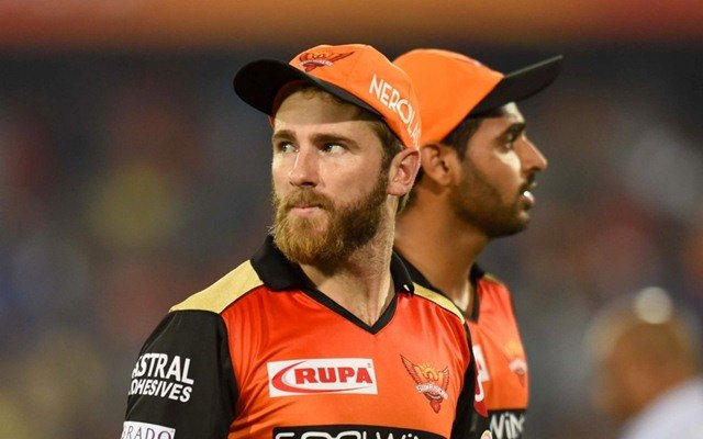 Hyderabad: Sunrisers Hyderabad's Kane Williamson and Bhuvneshwar Kumar walks back to the pavilion after the end of first innings during the eighth IPL 2019 match between Sunrisers Hyderabad and Rajasthan Royals at Rajiv Gandhi International Stadium in Hyderabad on March 29, 2019. (Photo: IANS)